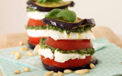 Aubergine Caprese-salade